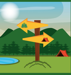 Camping zone with tent and arrows vector