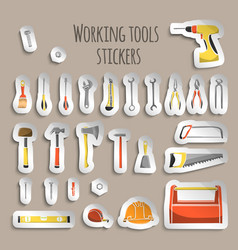 Carpenter working tools icons stickers vector
