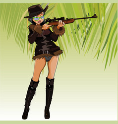 Cartoon female hunter aiming with an optical vector