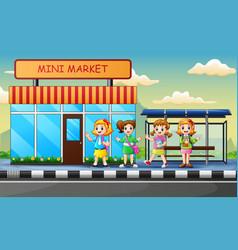 Cartoon school children waiting bus on road vector