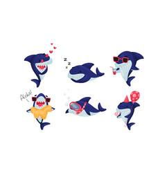 Cartoon toothy shark snorkeling and drinking vector