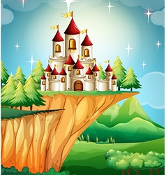 Castle towers on the cliff vector image