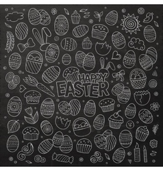 Chalkboard doodles cartoon set of Easter vector