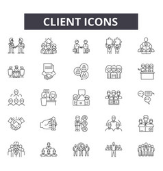 client concept line icons signs set vector image