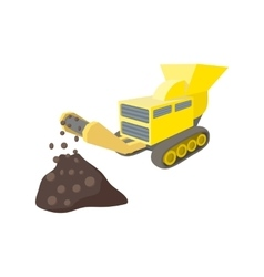 Coal conveyor crusher cartoon icon vector