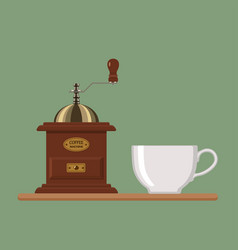 coffee mill with white cup vector image