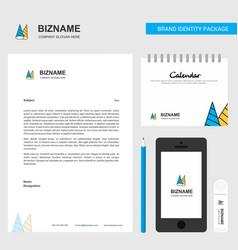 Cone cap business letterhead calendar 2019 and vector