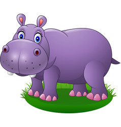 cute cartoon hippo on the grass vector image