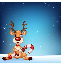 Cute deer holding Christmas candy on a night sky vector