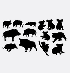 cute koala and boar animal silhouettes vector image