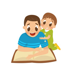 dad reading a book to his little son family vector image