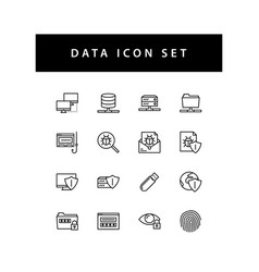 data sharing icon set with black color outline vector image
