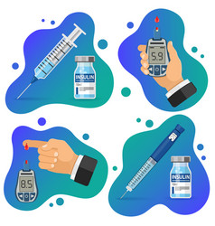 diabetes banners with glucometer syringe vector image