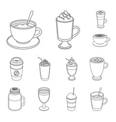 Different kinds of coffee outline icons in set vector
