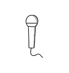 Doodle microphone icon vector
