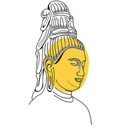 Face of Buddha Hand-drawn vector
