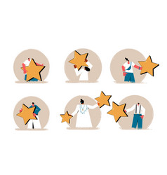 Feedback icons set client review avatars people vector