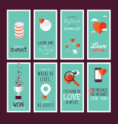 Flat design valentines day greeting cards vector