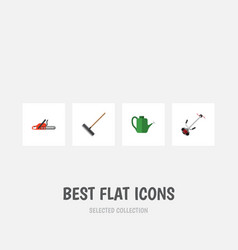 Flat icon dacha set of hacksaw grass-cutter vector