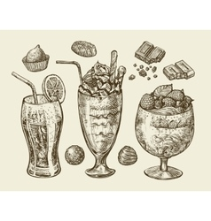 Food dessert drinks Hand drawn soda lemonade vector