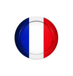 french flag on the round button vector image