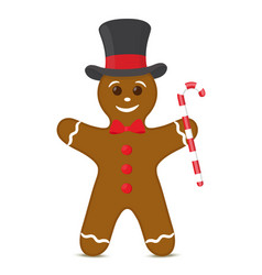 gingerbread cookie in top hat christmas vector image