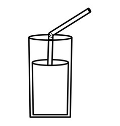 Glass with juice fruit and straw vector
