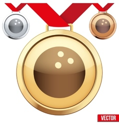 Gold Medal with the symbol of a bowling inside vector image