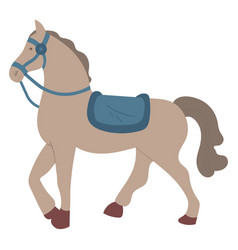 Gray horse with seat isolated cartoon animal pet vector