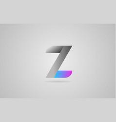 grey blue pink alphabet letter z logo icon design vector image