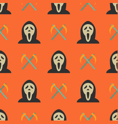 halloween seamless pattern with ghost and sickles vector image