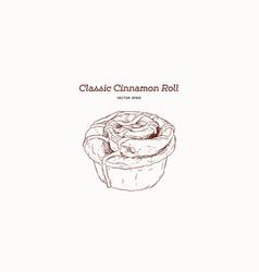Hand drawn sketch style classic cinnamon roll vector