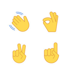 hands emoji applause emoticon cartoon set vector image