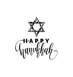 happy hanukkah hand lettering with david vector image