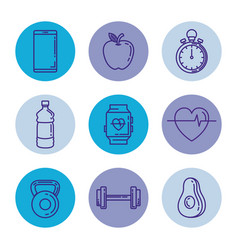 Healthy and fitness lifestyle set icons vector