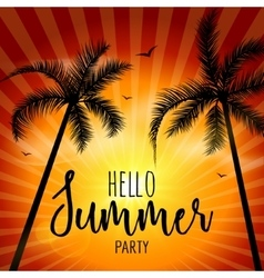 hello summer beach party summer lettering vector image