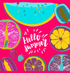 hello summer strawberry vector image