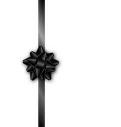 holiday gift card with black ribbon and bow vector image