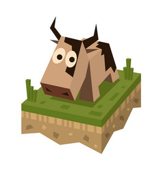 Isometric flat brawn cow on the tile vector