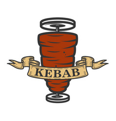 kebab emblem template fast food design element vector image
