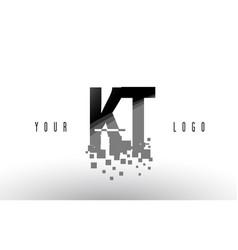 Kt k t pixel letter logo with digital shattered vector
