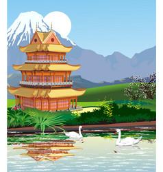 landscapes - japanese pagoda at mount fuji vector image