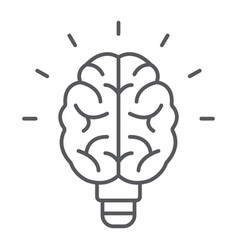 Light bulb brain thin line icon school education vector