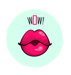 Lips pink color with word wow fashion print vector