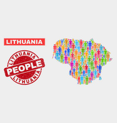 Lithuania map population people and corroded stamp vector