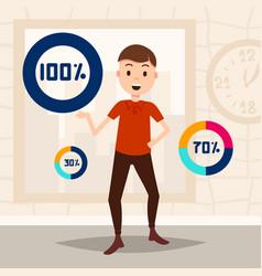 Man circle percentage diagram character ready to vector