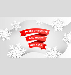 merry christmas paper red ribbon banner on a vector image