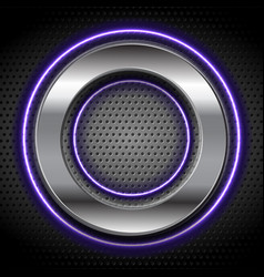 Metallic and violet neon circles on perforated vector