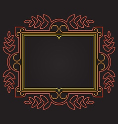 Mono line Ornate frame with floral elements vector