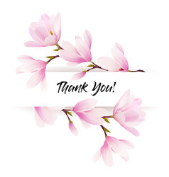 natural greeting card with pink magnolia flowers vector image